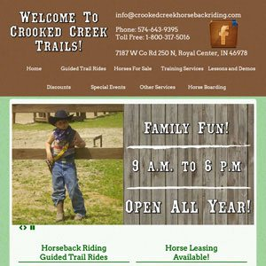 Crooked Creek Trails Horseback riding website