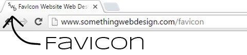 Something Web Design FavIcon image location inside Google Chrome Browser